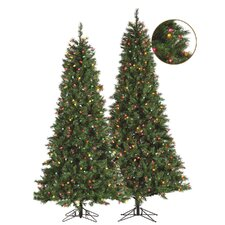 9' Green Retro Pine Christmas Tree with 600 Clear Lights with Stand