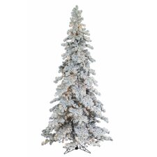 9' Heavy Layered Spruce Christmas Tree with 750 Clear Lights with Flocked and Stand
