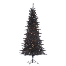 7.5' Black Tiffany Christmas Tree with 450 Clear Lights with Tinsel and Stand