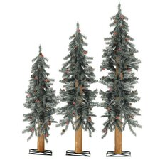 3 Piece Unlit Alpine Christmas Tree Set with Stands