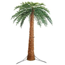 10' Green Large Artificial Pre-Lit Palm Tree with 1100 Clear Lights