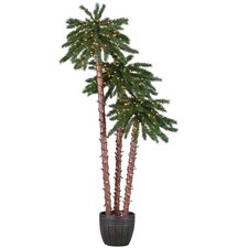 Pre-Lit Palm Tree 5' Green Tropical Artificial Christmas Tree with 650 Lights with Pot