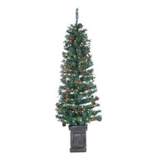 6' Green Tucson Pine Christmas Tree with 200 Clear Lights with Pot and Stand