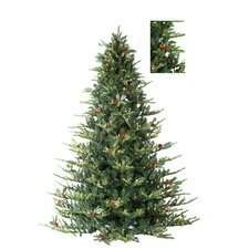 7.5' Green Layered Oriental Spruce Christmas Tree with 650 Clear Lights with Stand