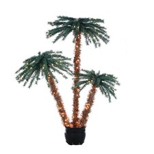 5' Green Tropical Artificial Christmas Tree with 350 Clear Lights with Pot