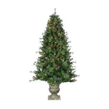 6' Green Alberta Spruce Christmas Tree with 300 Clear Lights with Pot and Stand