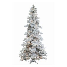 7.5' Heavy Layered Spruce Christmas Tree with 550 Clear Lights with Flocked and Stand