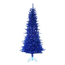 7.5' Blue Tiffany Christmas Tree with 150 Blue Lights with Tinsel and Stand