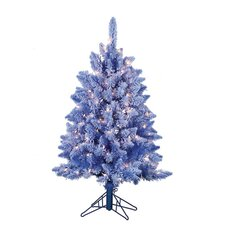 4' Blue Lightly Keystone Pine Christmas Tree with 200 Clear Lights with Flocked and Stand