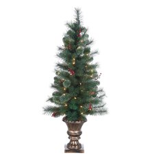 4' Green Hard Needle Lodge Berry Pine Christmas Tree with 70 Clear Lights with Pot and Stand