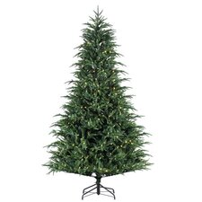 7.5' Natural Cut Frasier Fir Christmas Tree with 450 LED F5 Warm White Lights with Stand