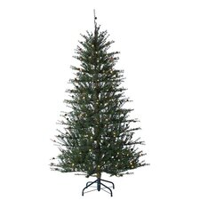 7.5' Hard Needle Twig Christmas Tree with 312 LED F5 Warm White Lights with Stand