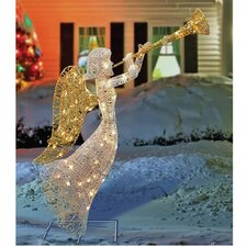 Glittering Angel with Wings and Trumpet Christmas Decoration