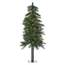 4' Green Hard Needle Ozark Alpine Christmas Tree with 100 Clear Lights and Stand