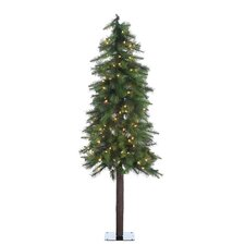 5' Green Hard Needle Ozark Alpine Christmas Tree with 150 Clear Lights and Stand