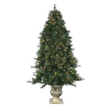 6' Green Hard Needle Dover Pine Christmas Tree with 300 Clear Lights with Pot and Stand