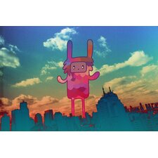 """Big Bunny Little City"" Graphic Art on Canvas"