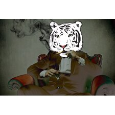 """Smoking Tiger"" Graphic Art on Canvas"