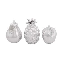 3 Piece Decorative Fruit Display Figurine Set