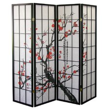 Four Panel Room Divider with Plum Blossom Design in Black