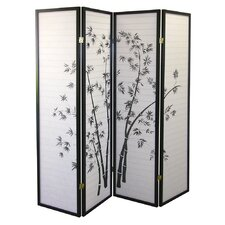 Four Panel Room Divider with Bamboo Design in Black