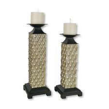 Poly Resin Square Candlesticks (Set of 2)
