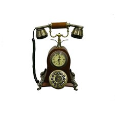 Classic Telephone with Quartz Roman Numeral Clock in Mahogany