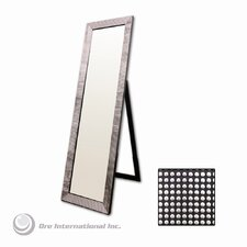 Rectangular Floor Mirror with Pearl-Like Studs in Black