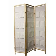 3-Panel Wooden Room Divider with Pocket Holders in Natural