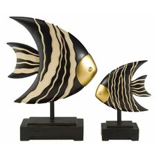African Craft 2 Piece Fish Statue Set