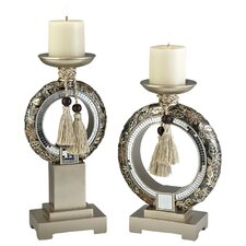Chrysanthemum 2 Piece Candle Holder Set