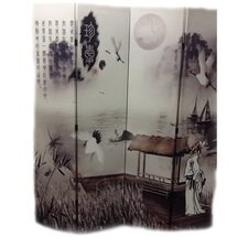 "71"" x 64"" Poet's Dream Chinese Painting 4 Panel Room Divider"