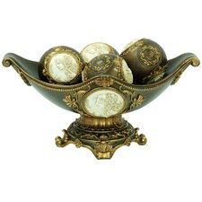"8"" Handcrafted Decorative Bowl with Spheres"