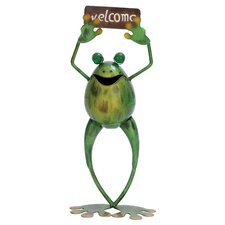 Metal Frog Welcome Figurine