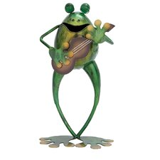 Metal Frog With Guitar Figurine