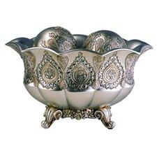 "7"" Traditional Metallic Decorative Bowl with Spheres"