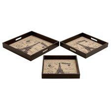 Wooden and Leather Paris Tray Set