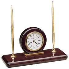 Rosewood Executive Desk Set Clock