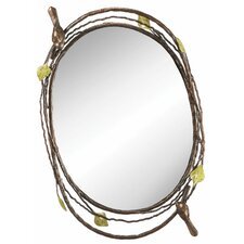 Bird and Twig Oval Mirror Tray