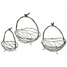 Bird and Twig Basket (Set of 3)