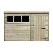 Pent Shed with Right Side Door and 3 Windows