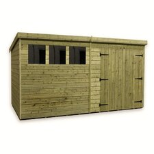 Pent Shed with Double Door and 3 Right Windows