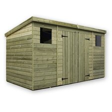 Pent Shed with Double Door and 2 Windows