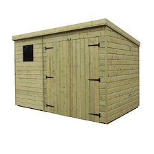 Pent Shed with Double Door and Right Window
