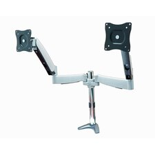 Full Motion Monitor Desk Mount with Height Adjustable Dual Articulating Arm