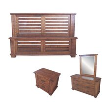 Rustic 4 Piece Dresser and Mirror Bedroom Suite