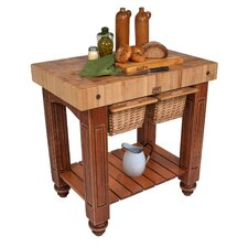 American Heritage Gathering Prep Table with Butcher Block Top