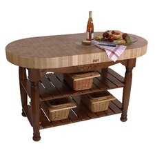 American Heritage Harvest Kitchen Island with Butcher Block Top