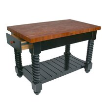 American Heritage Tuscan Kitchen Island with Wood Top