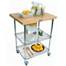 Rouge et Noir Metro Wire Kitchen Cart with Wood Top